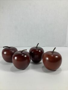 """4~Mid Century Style Wooden Apples Leather Stem Natural Wood Color 2.75"""" X 2.5"""""""