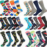 Men's Combed Alien Striped Cotton Socks Animal Floral Novelty Long Stockings