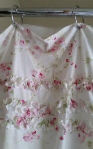 EUC Simply Shabby Chic Fabric Shower Curtain Pink Cherry Blossom Rose Ruffles