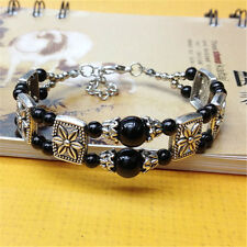 2017 handmade fashion Tibetan silver jewelry Whites bracelet bangle black bead