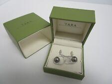 TARA Pearls Natural Color Black Tahitian Cultured Pearl Diamond Earrings