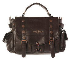 Banned Explorer Handbag Brown Steampunk Faux Leather Copper Buckle Shoulder Bag