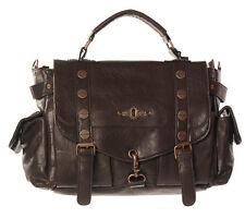 Banned Explorer Handbag Brown Steampunk Faux Leather Copper Buckle Shoulder Bag