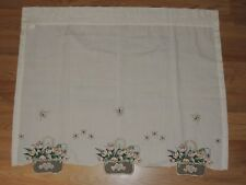 EMBROIDERED TULIP BASKET PAIR TIER CURTAINS ECRU 60 X 24 GREEN FLORAL BUTTERFLY