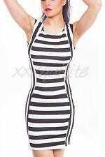 Womens Black White Horizontal Stripe Neutral Colour Sleeveless Summer Mini Dress