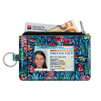 Credit Card Holder ID Window Change Pouch Slim Coin Purse Wallet with Key Ring