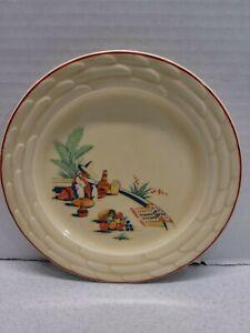 "Vintage Ceramic Plate Small Yellow Southwestern Mexican Scene 6"" Diameter"