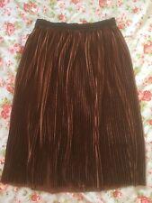 Zara Brown Shimmer Velvet Pleated Skirt Size Small Elastic Waistband Pull On
