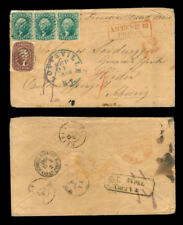 MOMEN: US STAMPS #32 STRIP OF 3 & #28 USED ON COVER TO SWITZERLAND P2073R