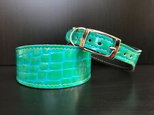 S/M Leather Dog Collar LINED Greyhound Whippet Saluki GREEN/BLUE REPTILE PATTERN