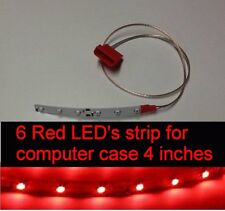 Red 6 LED's strip 4 inches long Self-adhesive for PC Computer case