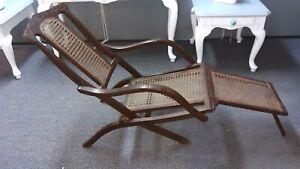 ~Antique Folding Luxury Wood & Cane Steamer Deck Chair, circa 1890, England