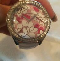 Women Guess Watch flower Face White Leather Band Steel Case Crystal Acc