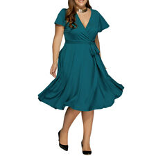 Plus Size Womens Summer Vintage 50s Boho Short Sleeve Party Beach Evening Dress