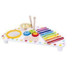 Tooky Toy Musiktisch Holz mit Ratsche Trommel Xylophon und Schelle ab 3 Jahren
