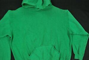 Vintage 70s Blank Solid Green Hoodie Sweatshirt Pullover Green Russell Athletic