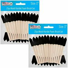 Foam Sponge Wood Handle Paint Brush Set Black Super Value 1-Inch Pack Of 50