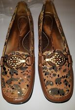 Bellini Loafers Size 6 Barcelona Brown Gold leopard  Shoes NEW!
