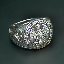 STERLING SILVER 925 GERMAN EAGLE BUNDESADLER EHRENRING RING with IRON CROSS