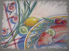 Vintage ORIGINAL Barbara Maslen 'FISH & Shrimp' Still Life Pastel ILLUSTRATION