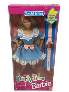 """1994 Barbie PARTY TIME Blond #12243 """"Watch Really Works!"""" Special Ed NRFB VTG"""