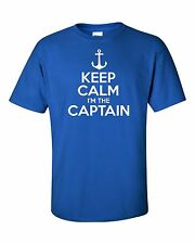 KEEP CALM I'M THE CAPTAIN funny mens t shirt  man gift motor boat sailing sea
