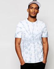 Nike Free Flyknit Tee Blue Tie Die Silver Athletic Cut T-Shirt Mens Medium