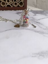 Alice In Wonderland Eat Me Glass Bottle Silver Spoon Necklace