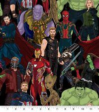 100% COTTON FABRIC MARVEL SUPERHERO COMICS HULK THOR SPIDER MAN THANOS IRON MAN