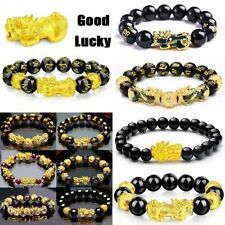 Feng Shui Black Obsidian Attract Wealth Lucky Bracelet Golden Dragon Pixiu Gifts