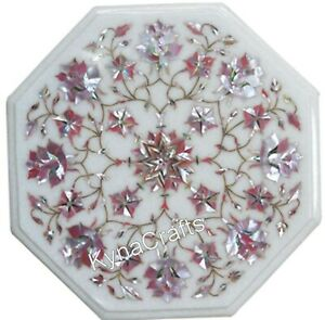 """White Marble Coffee Table Top Mother of Pearl Stone Inlaid Work Corner Table 13"""""""