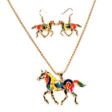 Fashion Women Rainbow Horse Pony Pendant Necklace Earrings Jewelry Set New