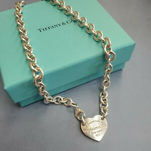 Tiffany Sterling Silver Necklace w/ Please Return to Tiffany & Co Heart Pendant