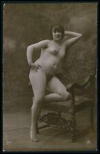 French full nude woman big hip & bush original c1910-1920s photo postcard