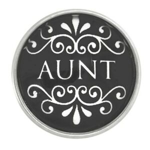 Aunt Scrolled Glass Nugz 18MM Snap Button Style Jewelry