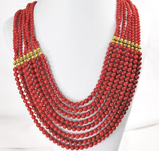 """Women Jewelry! Ny6designs 8 Strands Red Coral Huge Gold Necklace 18""""-23"""""""