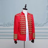 Mens Hussar Jacket Artillery Tunic Military Uniform Drummer Steampunk Top Coat