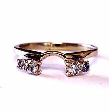 14k yellow gold .24ct diamond wrap jacket guard ring 1.9g estate antique vintage