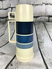 Vintage THERMOS Banded Ombre Blue Filler 22F, Cup 22A63, USA Vacuum Bottle 9.5""