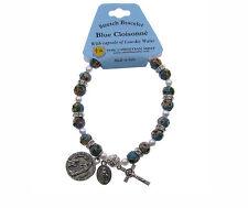 Christian Mint - Blue Cloisonné Rosary Stretch Bracelet w/ Capsule Lourdes Water