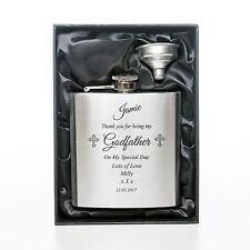 Personalised/Engraved GODFATHER Brushed Hip Flask Gift Box For Godparent