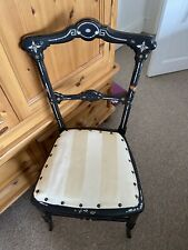More details for black laquered occasional chair with mother of pearl inlay
