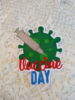 Vaccine Day Title Embellishment paper piecing Premade Scrapbook Pages