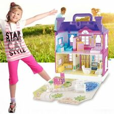 Doll House With Furniture Miniature House Dollhouse Assembling Toys For Kids H N