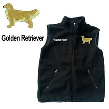 Golden Retriever Dog Fleece Vest with Zippers Personal Name Stitched Monogrammed