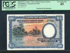 British West Africa:P-11b,100 Sh./5 Pounds,1954 * River scene * PCGS EF 45 *