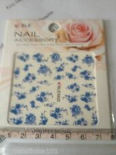 Nail tip Art stickers transfer Wrap water decals Blue Flower Manicure M25