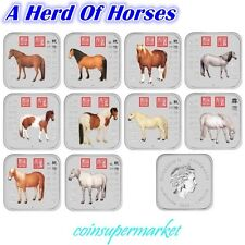 2014 Australia Lunar Year Of The Horse 1oz Silver Square 10-Coin Set Collection!