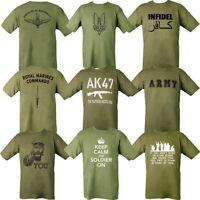 MENS MILITARY T-SHIRT x24 DESIGNS MARINE ARMY INFIDEL WW1 WW2 PARA SAS MASH AK47