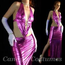 SIDE-SPLIT Halter BACKLESS Gown METALLIC Pink FORMAL Stripper DANCEWEAR Dress M